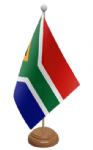 South Africa Desk / Table Flag with wooden stand and base